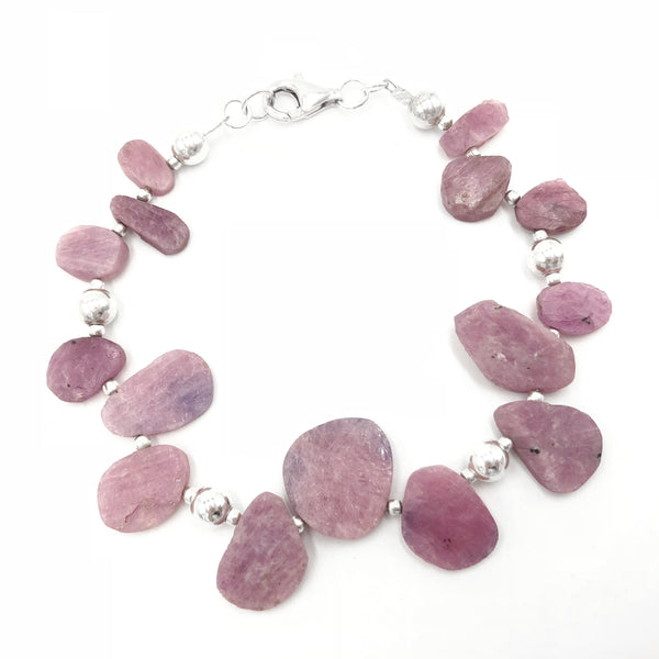ruby pink purple gemstone silver bracelet