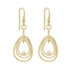 14K YELLOW GOLD  DANGLE EARRING - 3 LOOP PEAR SHAPE .057CTW DIAMOND