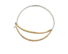 HAMMERED GOLD FILLED AND STERLING SILVER SWING HOOP