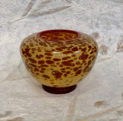 AMBER SPECKLED GLASS BOWL/VASE