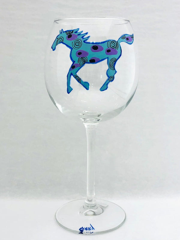 RED WINE RUNNING HORSE GLASS