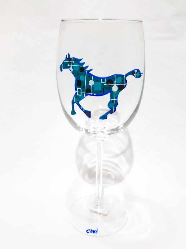 WHITE WINE RUNNING HORSE GLASS