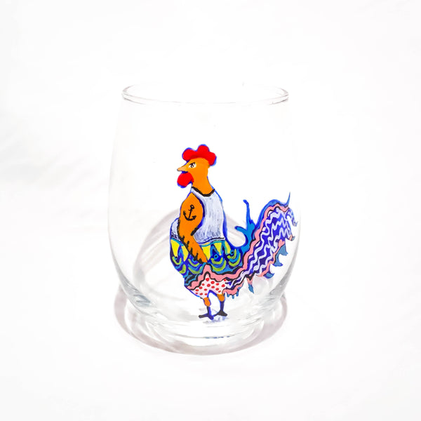 STEMLESS WINE ROOSTER GLASS