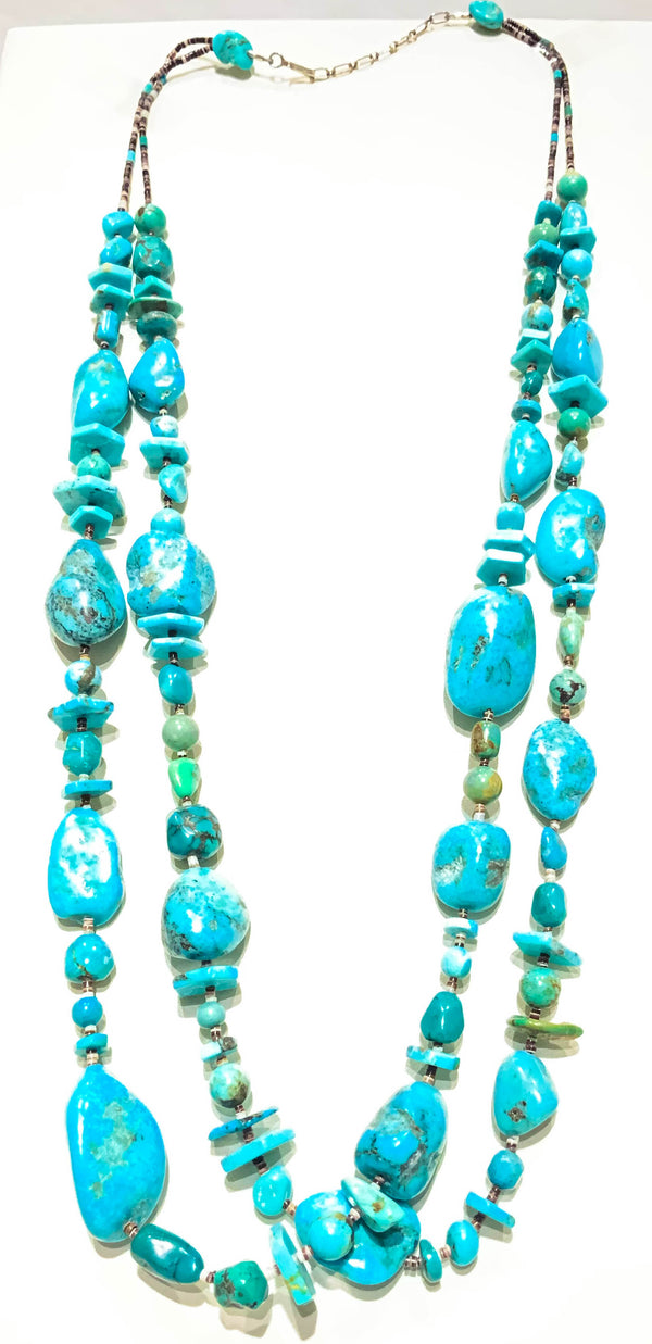 DOUBLE STRAND CHUNKY TURQUOISE NECKLACE