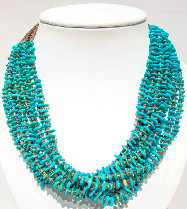 TURQUOISE NECKLACE 10-STRANDED