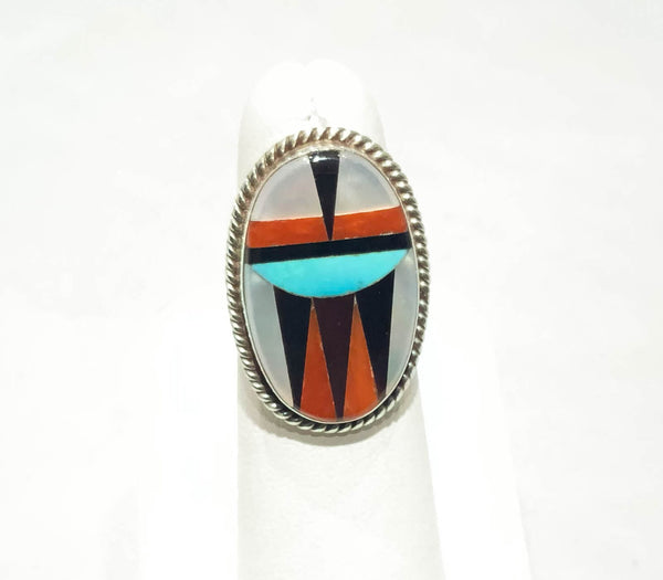 ZUNI INLAID OVAL RING