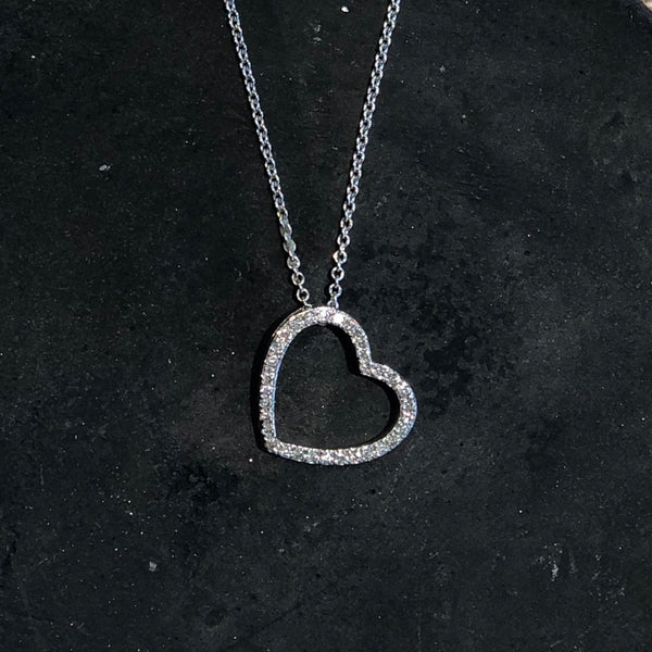 DIAMOND HEART 14K WHITE GOLD NECKLACE