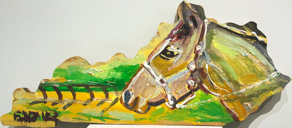 "KENTUCKY SHAPE WOOD HORSE 24"" X 11"""