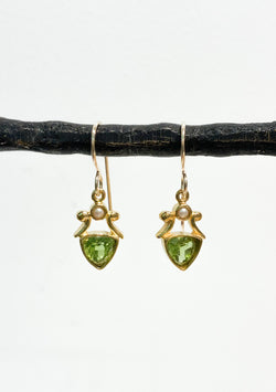 PERIDOT AND PEARL VERMEIL EARRINGS