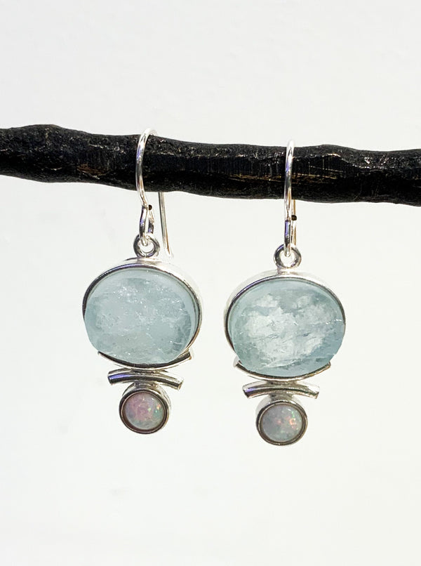 OVAL AQUAMARINE AND OPAL STERLING SILVER EARRINGS