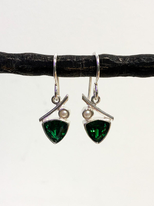 EMERALD CZ AND PEARL STERLING SILVER EARRINGS