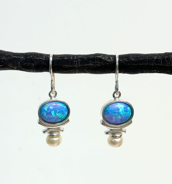 OVAL STERLING SILVER CREATED OPAL WITH PEARL EARRINGS