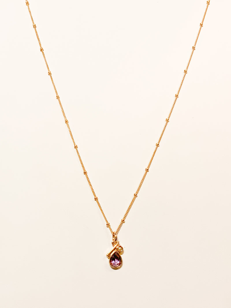 GOLD VERMEIL PEARL AND AMETHYST NECKLACE
