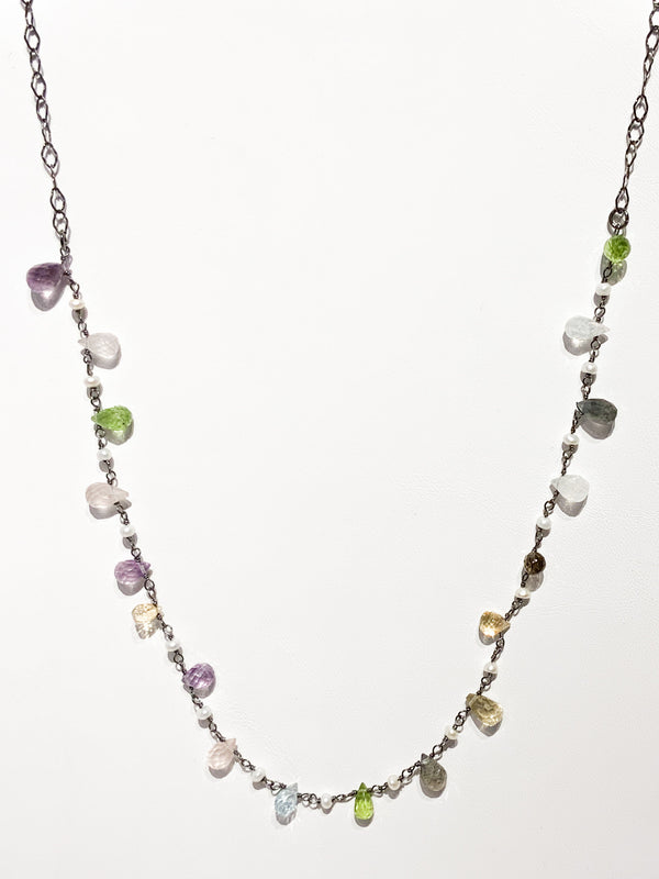 MULTI GEM AND PEARL OXIDIZED STERLING DROP NECKLACE