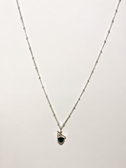 EMERALD CZ AND PEARL STERLING SILVER NECKLACE