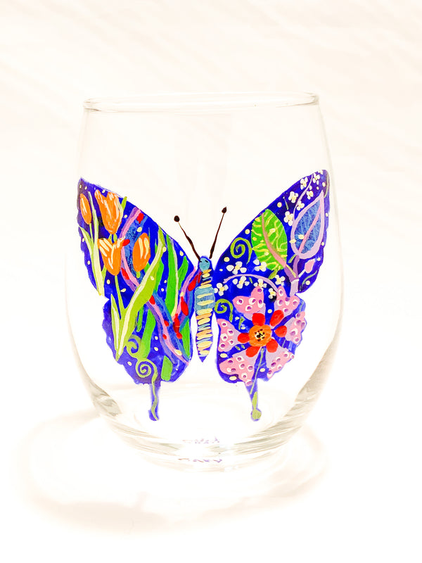 STEMLESS WINE BUTTERFLY GLASS
