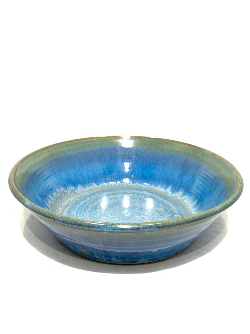 GREEN AND BLUE FLAMBEAUX LARGE BOWL