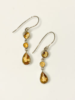 ROUNDED CITRINE W/ PEAR DROP EARRING