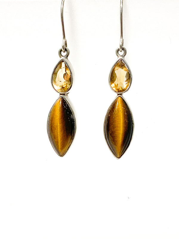 CITRINE PEAR FACET & TIGER EYE MARQUISE EARRING