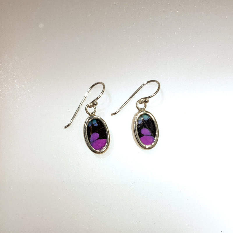 EXTRA-SMALL BUTTERFLY EARRINGS- OVAL BLACK/PURPLE
