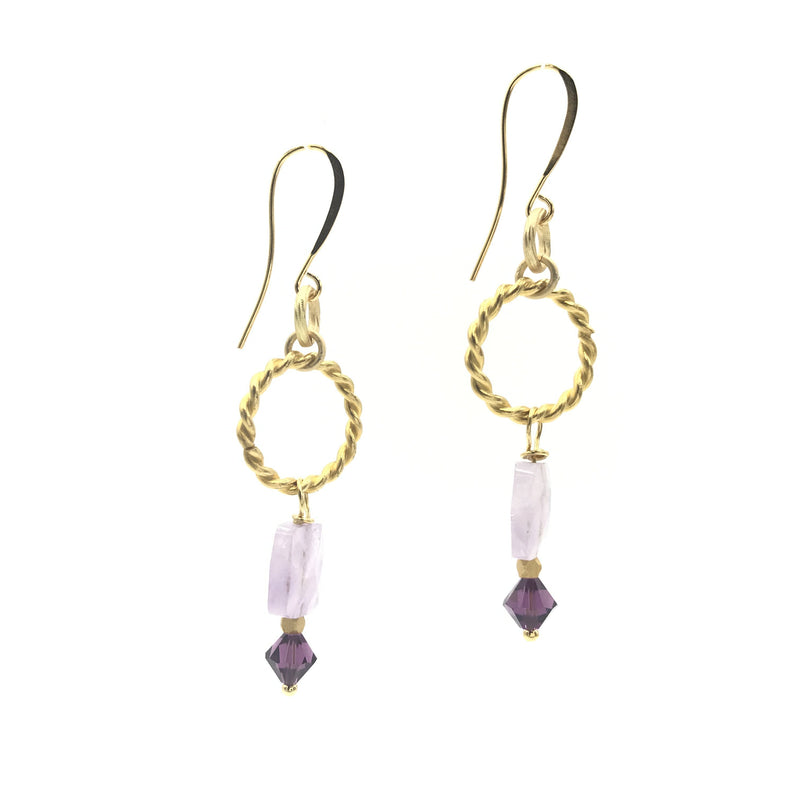 purple swarovski crystal amethyst gold earrings