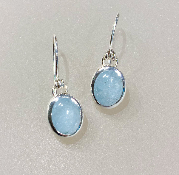SMALL OVAL AQUAMARINE EARRINGS