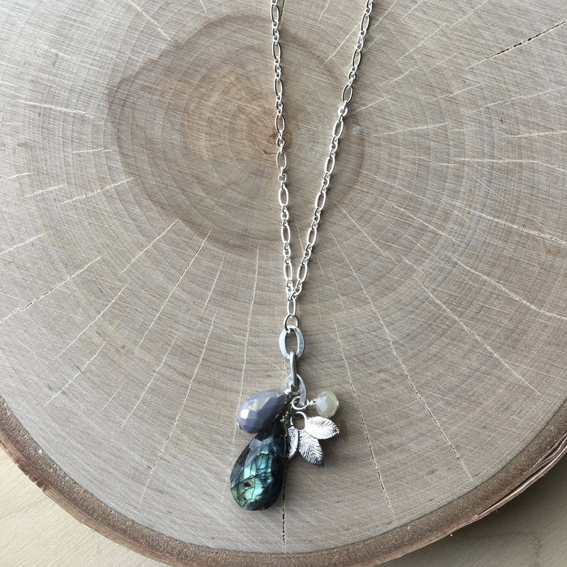 BLUE LABRADORITE GLASS CRYSTAL AND SILVER LEAF PENDANT