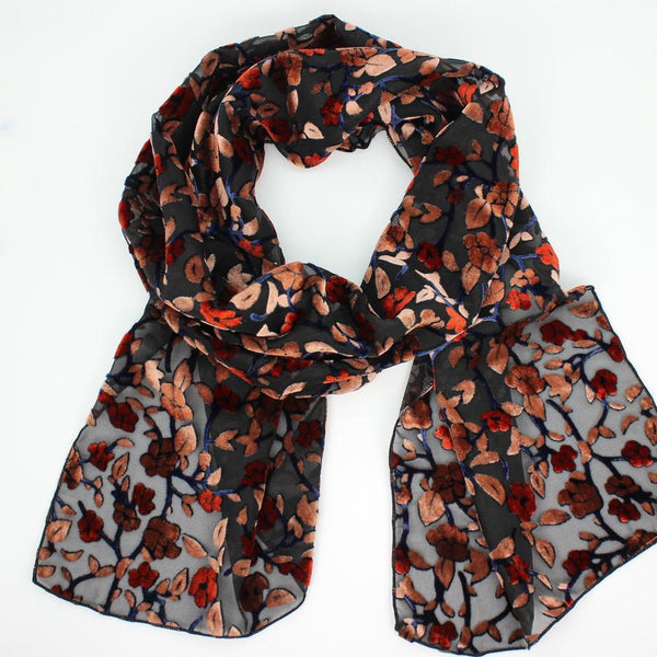 BURNOUT VELVET SCARF IN PEACH AND RUST FLORAL