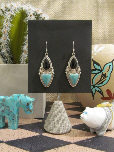 ONYX AND TURQUOISE DANGLE EARRINGD