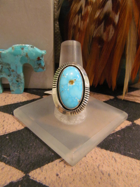 LIGHT BLUE TURQUOISE RING WITH SIMPLE SILVER EDGE
