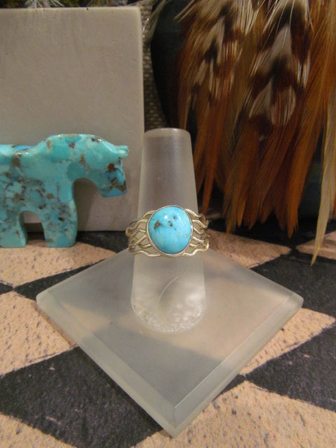 TURQUOISE RING WITH WAVY BAND