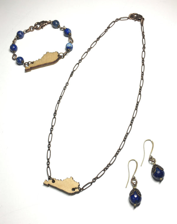 Bourbon and Blue Earrings