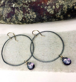 OXIDIZED STERLING SILVER/GOLD FILLED EARRING WITH MYSTIC PURPLE QUARTZ