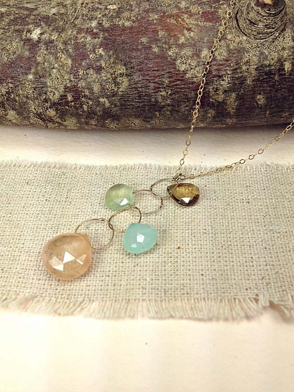 14K GOLD-FILL NECKLACE WITH PEACH RUTILATED QUARTZ, CHALCEDONY, PREHNITE & WHISKY TOPAZ