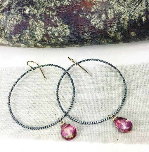 OXIDIZED STERLING SILVER/GOLD FILLED EARRING WITH MYSTIC PINK QUARTZ