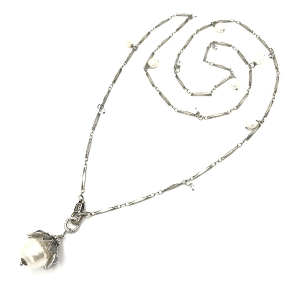 sterling silver steel pearl drop necklace
