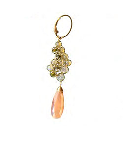 GOLD FILLED ETHIOPIAN OPAL, MOONSTONE/COATED PEACH MOONSTONE EARRINGS