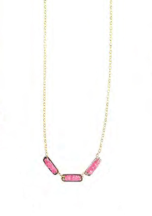 GOLD FILLED PINK SAPPHIRE NECKLACE