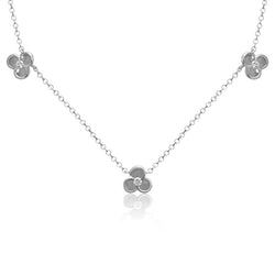 14K WHITE GOLD BLOOM STATION NECKLACE WITH DIAMONDS