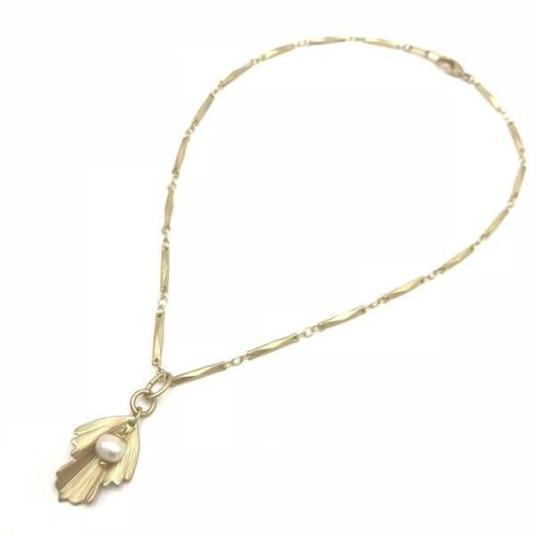 Gold silver pearl pendant chain leaf