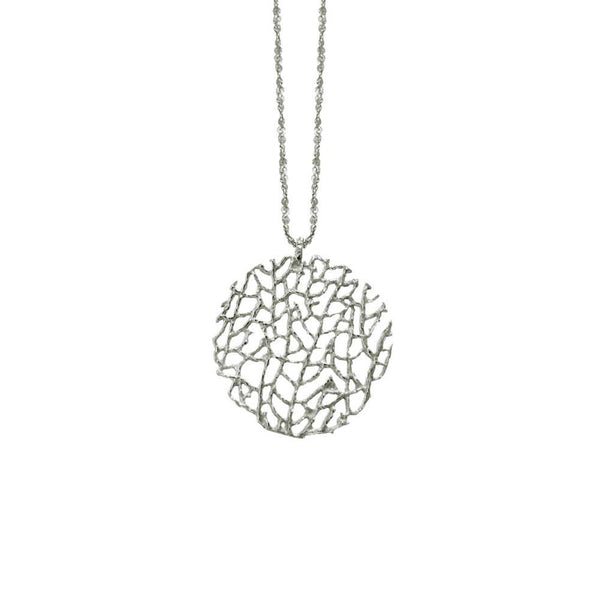 "STERLING SILVER SMALL CORAL DISC ON 18"" CHAIN"