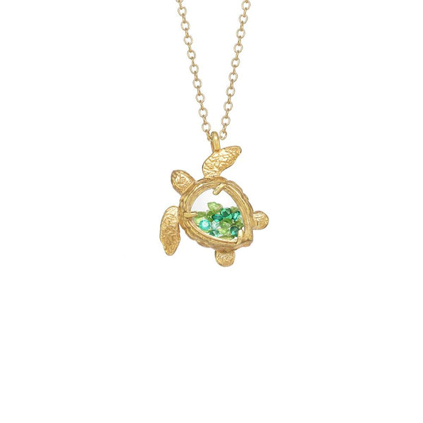 "18K GOLD VERMEIL SEA TURTLE SHAKER NECKLACE WITH GREEN GARNET ON 18"" CHAIN"