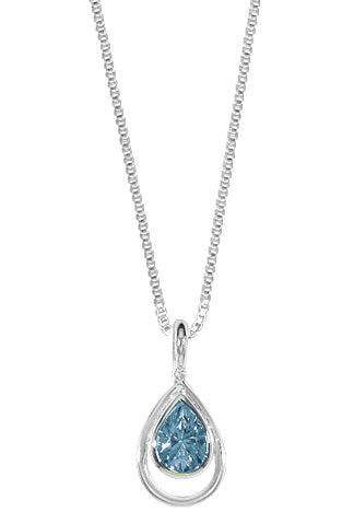 "16"" STERLING SILVER TEARDROP BLUE TOPAZ NECKLACE"
