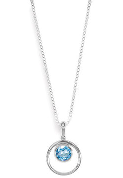 "16"" STERLING SILVER BLUE TOPAZ CIRCLE NECKLACE"