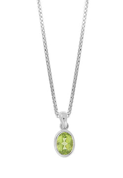 "18"" STERLING SILVER OVAL PERIDOT NECKLACE"