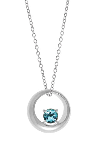 "18"" STERLING SILVER BLUE TOPAZ CIRCLE NECKLACE"