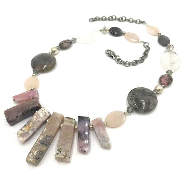 opalite jasper crystal pink gray statement necklace