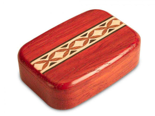 "PADAUK SECRET BOX WITH OVAL DIAMOND INLAY (2"" X 3"")"