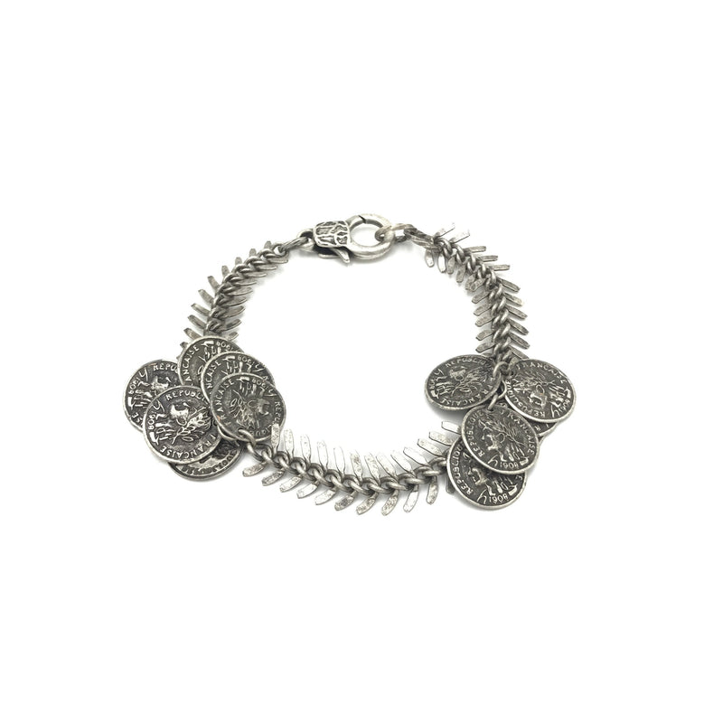 fishbone coin sterling silver steel bracelet