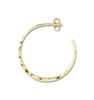 GOLD FILLED POST HAMMERED HOOP EARRINGS - 30 MM
